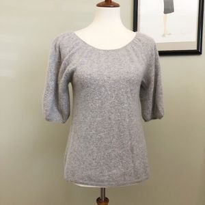 Vertical Design 2-Ply 100% Cashmere Blouse M